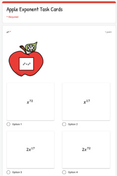Apple Exponent Rules Task Cards