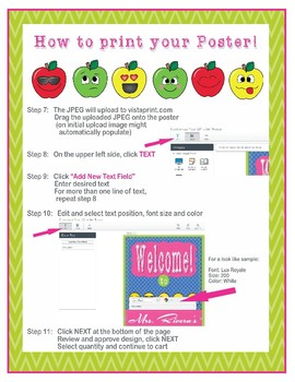 "Apple Faces Apples - EDITABLE Welcome Poster - 18""x 24"""