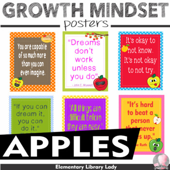 """Apple Faces Apples Growth Mindset Posters- 8.5""""x11"""", 18""""x24""""-Ready for Printing"""