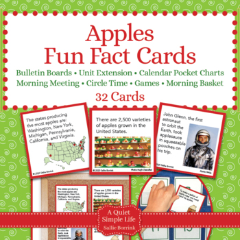Apples Unit Activity - Fun Fact Cards for Games, Bulletin Board