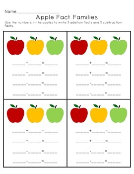 Apple Fact Families Worksheet/Center