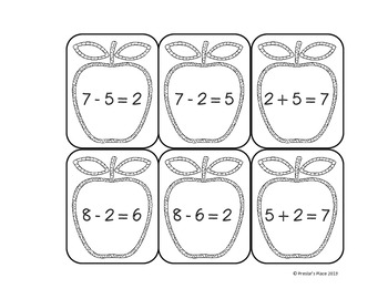 Freebie - Apple Fact Family Matching Game - {Numbers up to 10}