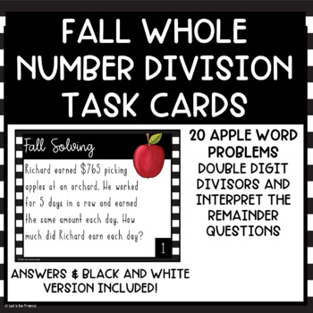 Apple Fall Themed Whole Number Division and Interpret the Remainder Task Cards