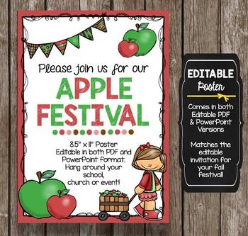 Apple Festival Invitation - EDITABLE - Harvest Celebration - School Poster FALL