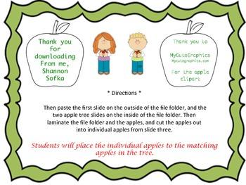 ABCs Apple File Folder Game