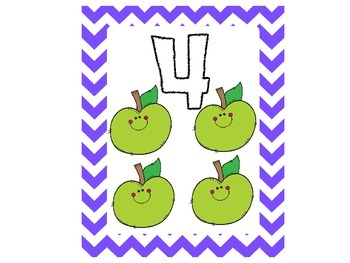 Apple Flash Cards Number 1-10