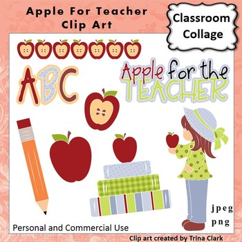 Apple For The Teacher Clip Art  Color  personal & commercial use