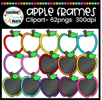 Apple Frames Clipart {white & chalkboard fill}