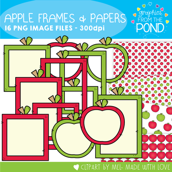 Apple Frames and Papers Graphics Set