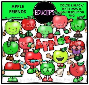 Apple Friends Clip Art Bundle {Educlips Clipart}