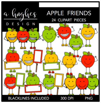 Apple Friends Clipart {A Hughes Design}