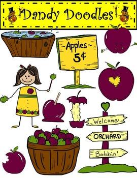 Earthy Apple Fun Clip Art by Dandy Doodles
