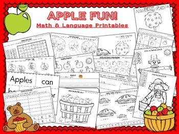 Apple Fun! ~ Math and Language printables