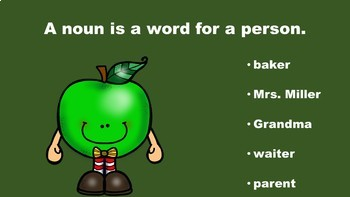 Apple Fun With Nouns, Verbs, and Adjectives - A PowerPoint Game Mini Pack Bundle