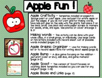 Apple Fun! (craftivity, language arts, and math activities)