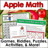 First Grade Math Autumn Apple Games and Activities Bundle