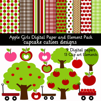 Apple Girls and Fall Days Digital Clip Art Set with Matching Papers
