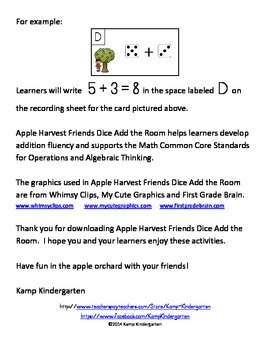 Apple Harvest Friends Dice Add the Room (Sums to 10)
