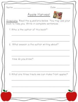 Apple Harvest - Reading Comprehension Worksheet
