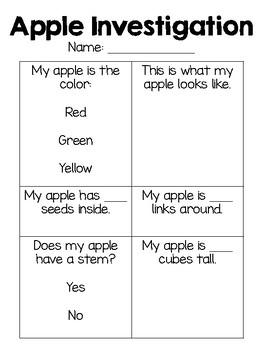 Apple Investigation - Hands On Science for PK-1st Grade