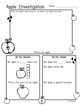 Apple Investigation Pre-K Fall Science Worksheet by JolieDesign | TpT