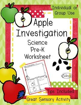 Apple Investigation Pre-K Fall Science Worksheet