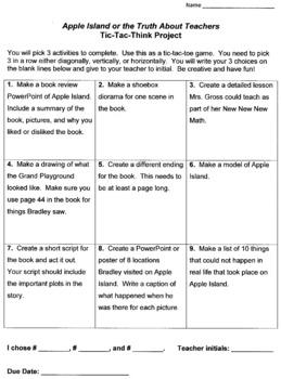 Apple Island or the Truth About Teachers Novel Study