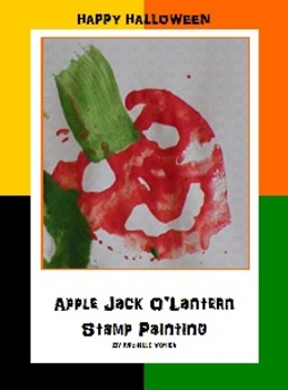 Apple Jack O'Lantern Stamp Painting for Halloween