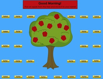 Apple, Johnny Appleseed, & Back to School Themed SMART Board Attendance Activity