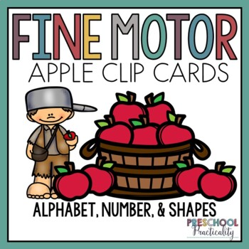 Apple Johnny Appleseed Clip Cards -- Alphabet, Counting, and Shapes
