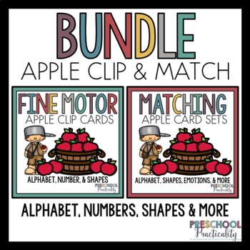 Apple Johnny Appleseed Match and Clip Card Bundle for Toddlers, Preschool, PreK