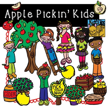 Apple Kids Fall Clip Art Kid-E-Clips Commercial and Personal
