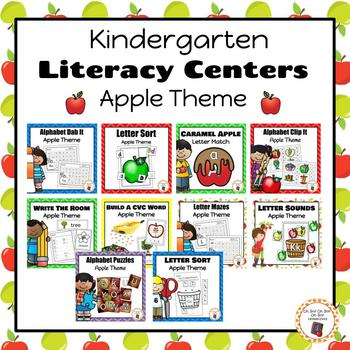 Apple Kindergarten Literacy Centers BUNDLE