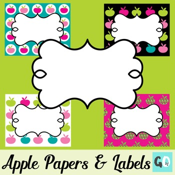 45 Apple Labels and 4 Papers