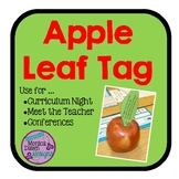 Apple Leaf Thank You Tag for Curriculum Night, Conferences