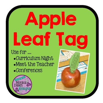 Apple Leaf Thank You Tag for Curriculum Night, Conferences, Meet the Teacher