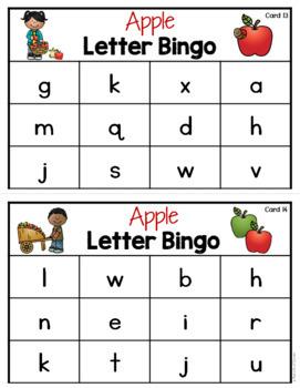 Apple Letter Bingo