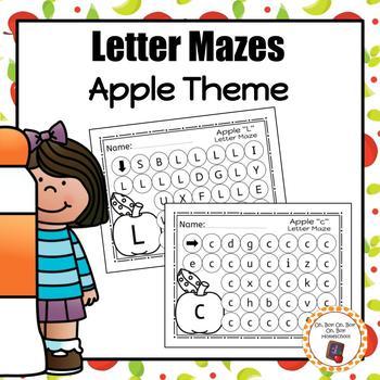 Apple Letter Maze Worksheets