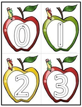 Apple Letter, Number, and Shape Tracing Cards