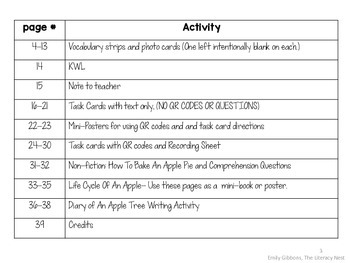 Apple Life Cycle Printables Non-Fiction Task Cards and Listening Center