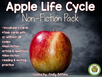 Apple Life Cycle Printables Non-Fiction Task Cards and Lis