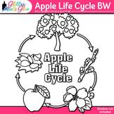 Apple Life Cycle Clip Art: Autumn Plant Graphics B&W {Glitter Meets Glue}