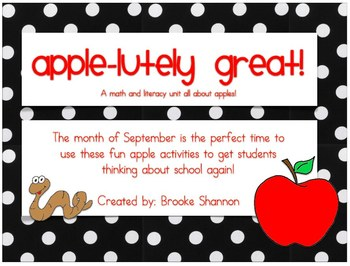 Apple-Lutely Great Unit {MANY Common Core Standards Covered}