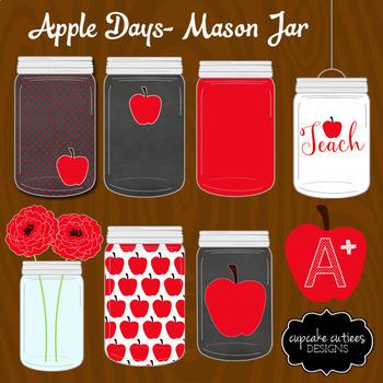 Apple Mason Jar Teacher Digital Clip Art Elements