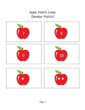 Apple Match Game numbers and letters