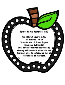 Apple Match: Numbers 1 to 20 (Six Sets)