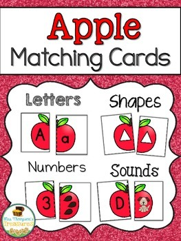 Apple Matching Cards - Letters, Numbers, Shapes, Sounds