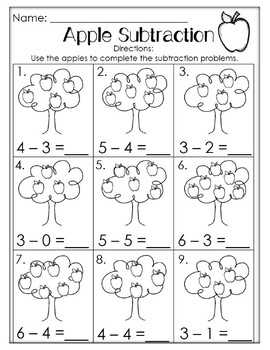Apple Math. Addition and Subtration. PreK/Kindergarten/First Grade