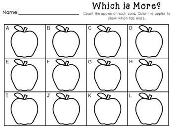 Apple Math Centers- Kindergarten, September, October, Fall, Johnny Appleseed