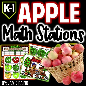 Apple Math Centers for Kindergarten & First Grade